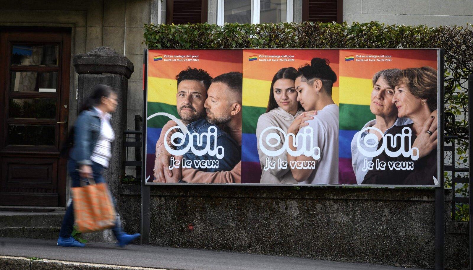 Kampaaniaplakatid homse hääletuse eel Šveitsis Lausanne'is.