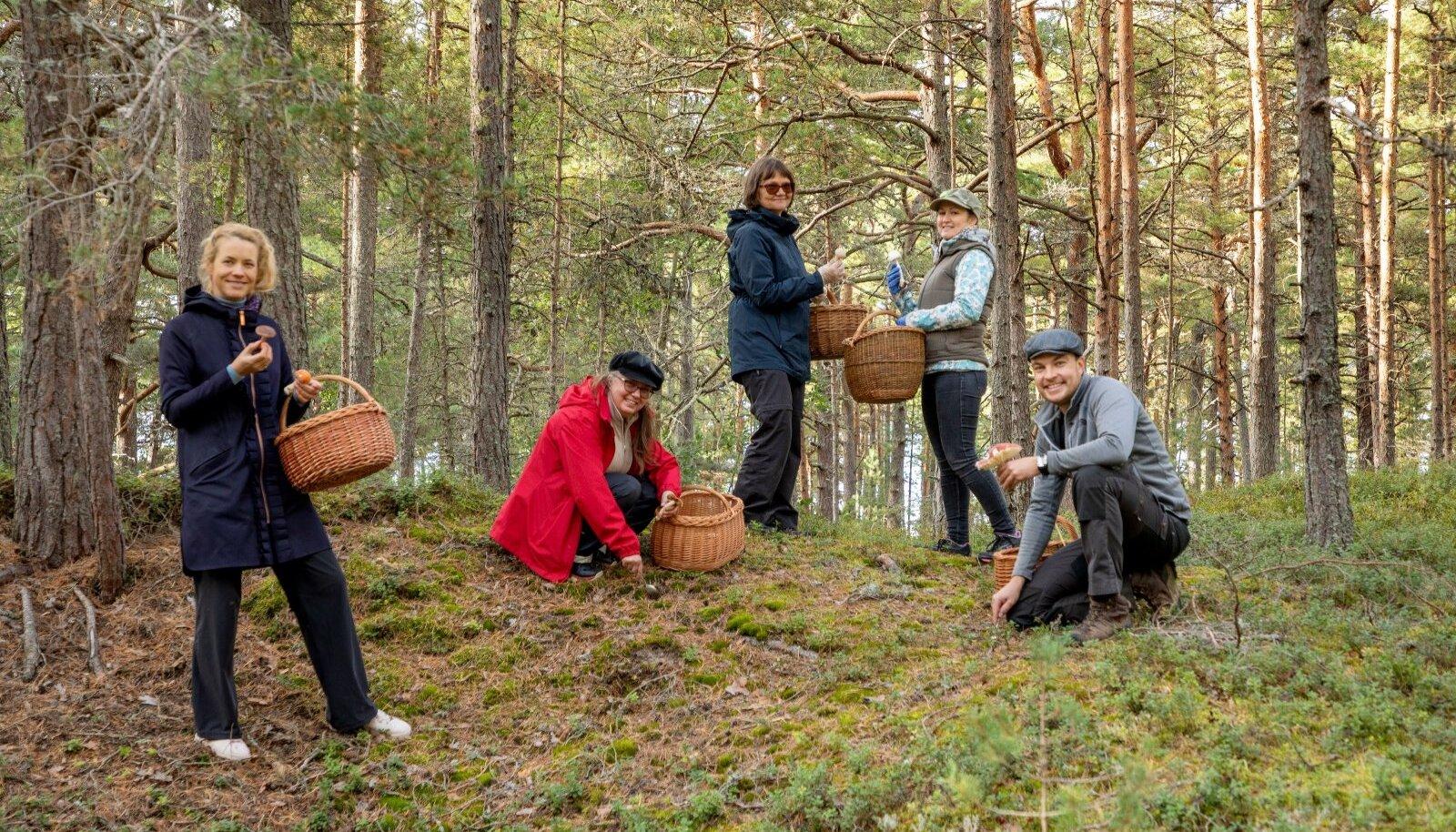 Seenelkäimine, nagu pildilt näha, pole üksnes toitev või näitust täitev tegevus, vaid ka suisa maaliline. Meremõisas on jäädvustatud loodusmuuseumi seenenäituse tarvis eksponaate kogunud (vasakult) Heidi Jõks, Jana-Maria Habicht, Loore Ehrlich, Karin Truuver ja Sander Olo.