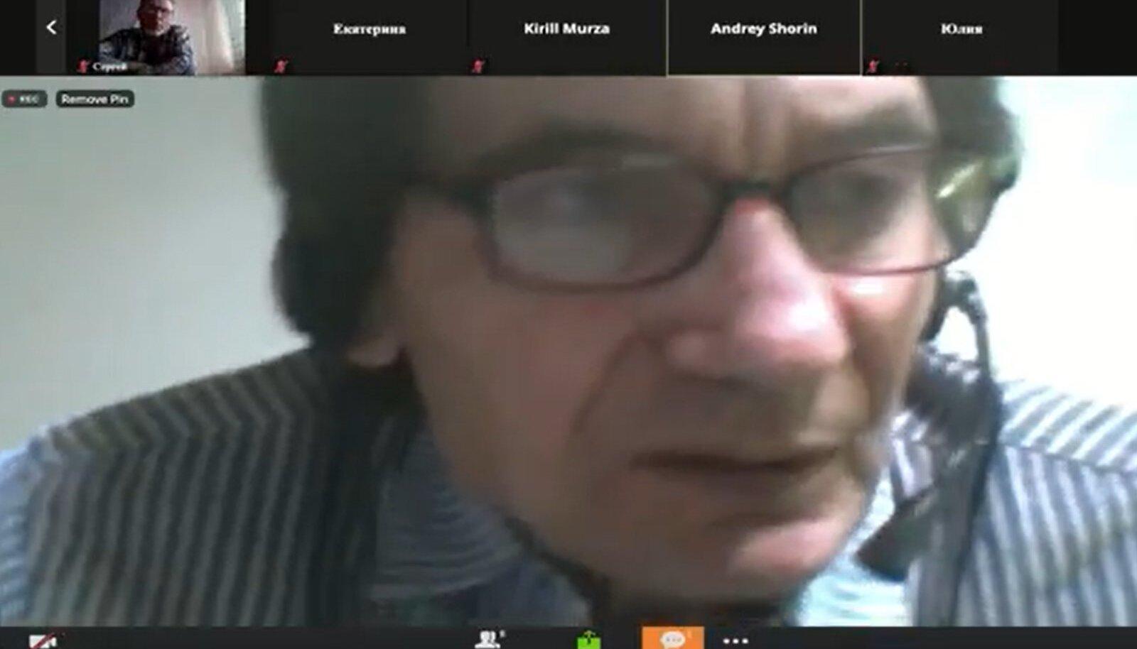 """Sergei Tõdõjakov esinemas """"juudiküsimuse"""" teemalisel Zoomi-seminaril."""