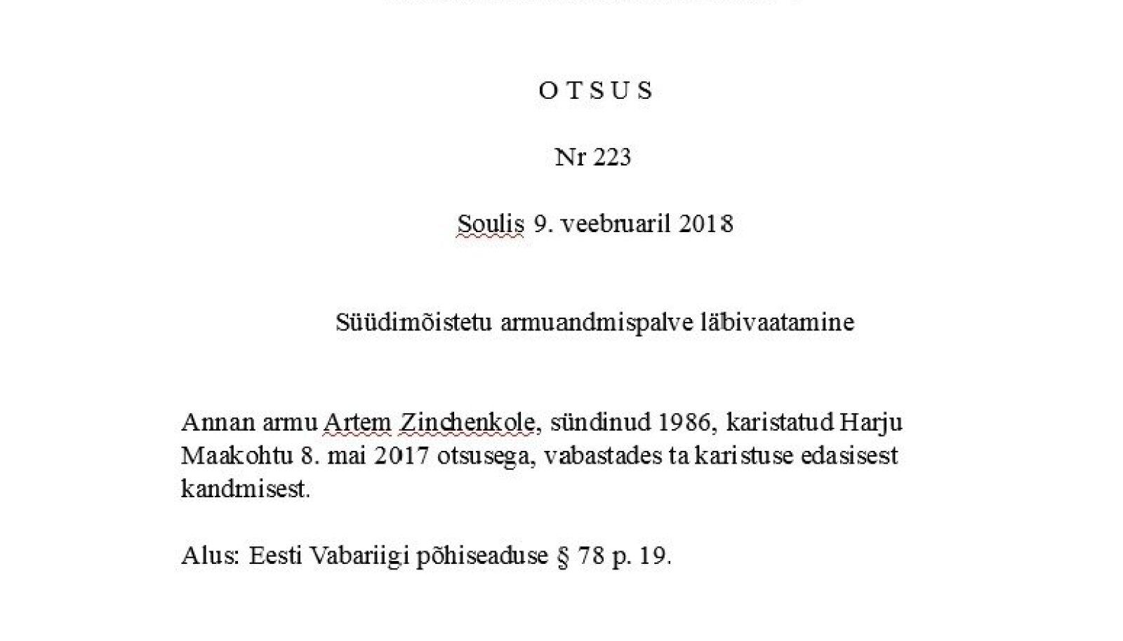 Soulis viibinud president andis Artjom Zintšenkole armu