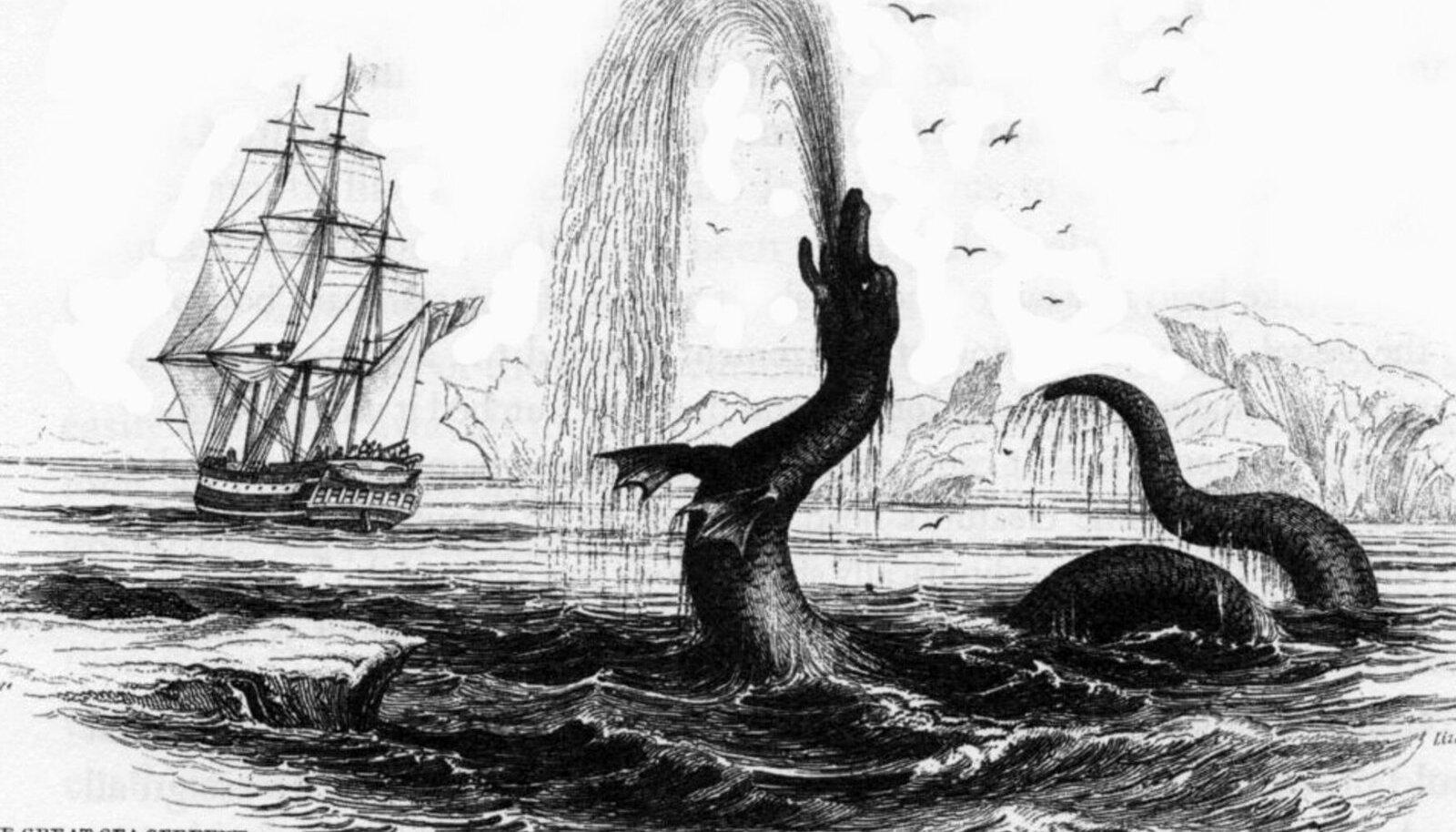 Viikingeid Egede ei leidnud, küll aga väitis ta end näinud olevat mitmesuguseid fantastilisi mereelukaid, keda ta hiljem oma raamatutes kirjeldas (pilt: Wikimedia Commons / Hans Egede joonistus aastast 1734)