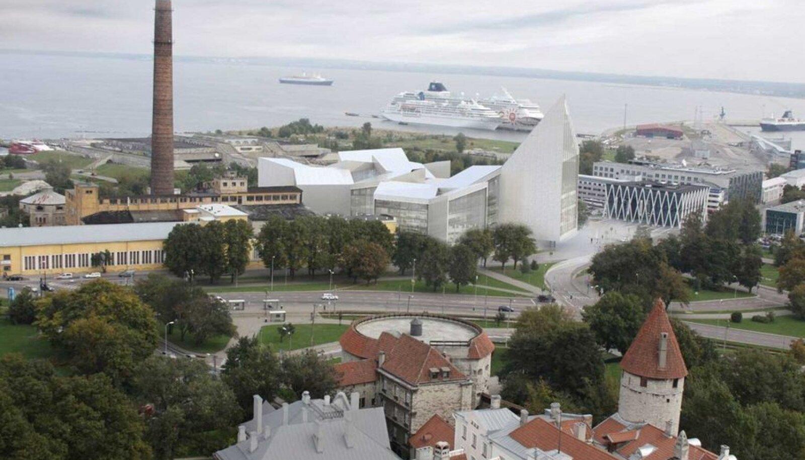 UNESCO vaeb superkalli raehoone sobivust vanalinna külje allaUue raehoone kõrval tunduvad energiakeskus ja linnahall lausa kääbustena. Peale selle peaks iga tallinlane maja valmisehitamiseks välja käima 265 eurot.  (Eskiis: arhitektuuribüroo BIG)