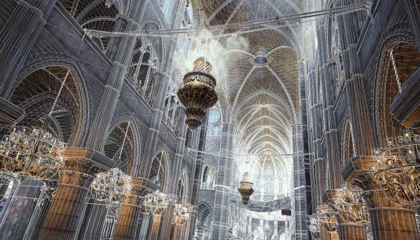 Jumalaema kiriku sisemuse digitaalne renderdus