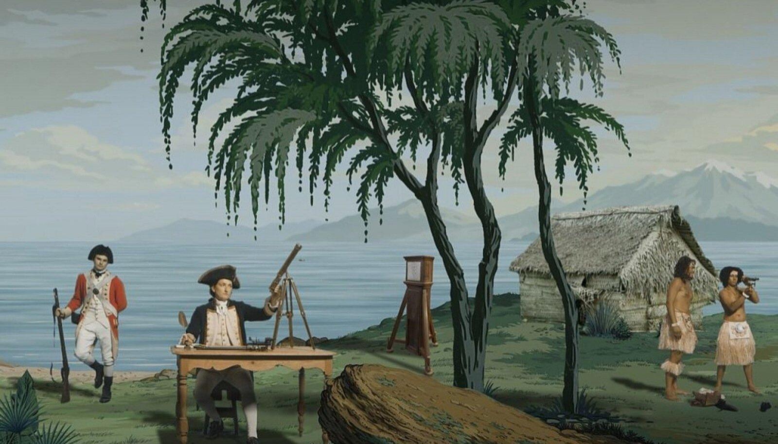 """MASTAAPNE TEOS: Taasesitades mänguliselt 19. sajandi alguses Prantsusmaal toodetud pilttapeeti, uurib ja nihestab Lisa Reihana hiiglaslik videopanoraam """"In Pursuit of Venus [infected]"""" kujutisi tsiviliseeritud eurooplaste ning barbaarsete ja eksootiliste Vaikse ookeani maade elanike kohtumistest."""