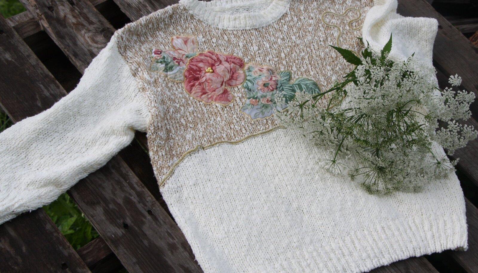 Lõigake erineva kuju ning suurusega lilled välja ja hakake riideesemele paigutama. Alati võib lilleõisi lõigata varuga, eks siis sobitamise käigus selgub, milliseid kasutate ning mis jäävad järgmist korda ootama.