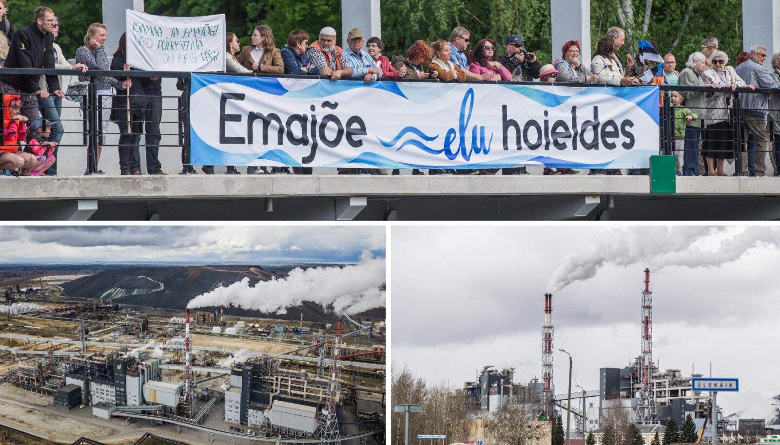 Ülal Tartu tselluloositehase vastane protest, all VKG tehased. Foto on loo juures illustreeriv
