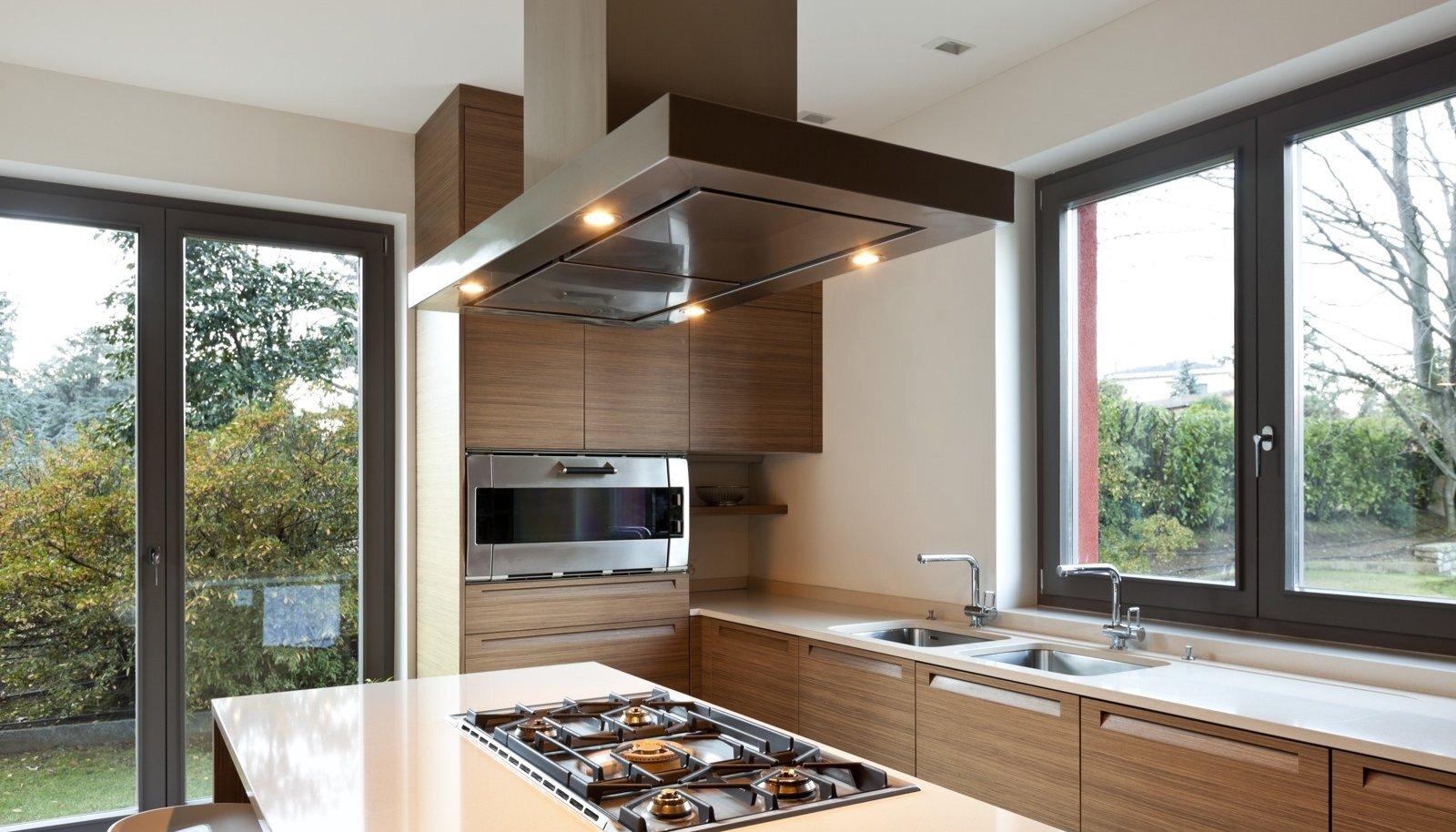 Kui süüa tehakse avatud elutoa keskel, peaks õhupuhasti sobima kogu interjööriga.