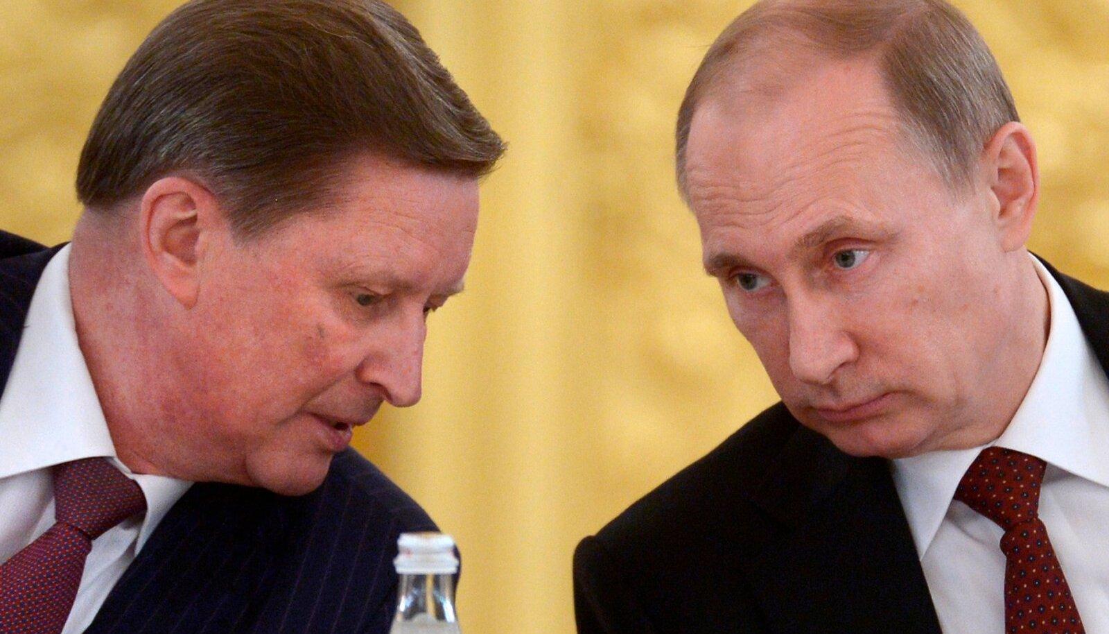KES ON KES? Sergei Ivanov on lukksepp Kiviõli keemiatööstuses, tema KGBs töötanud nimekaim (pildil vasakul) aga Venemaa endine kaitseminister, asepeaminister oma sõbra Vladimir Putini (paremal) teises valitsuses ning presidendi administratsiooni juht. Praegu presidendi eriesindaja looduskaitse, keskkonna ja transpordi alal.