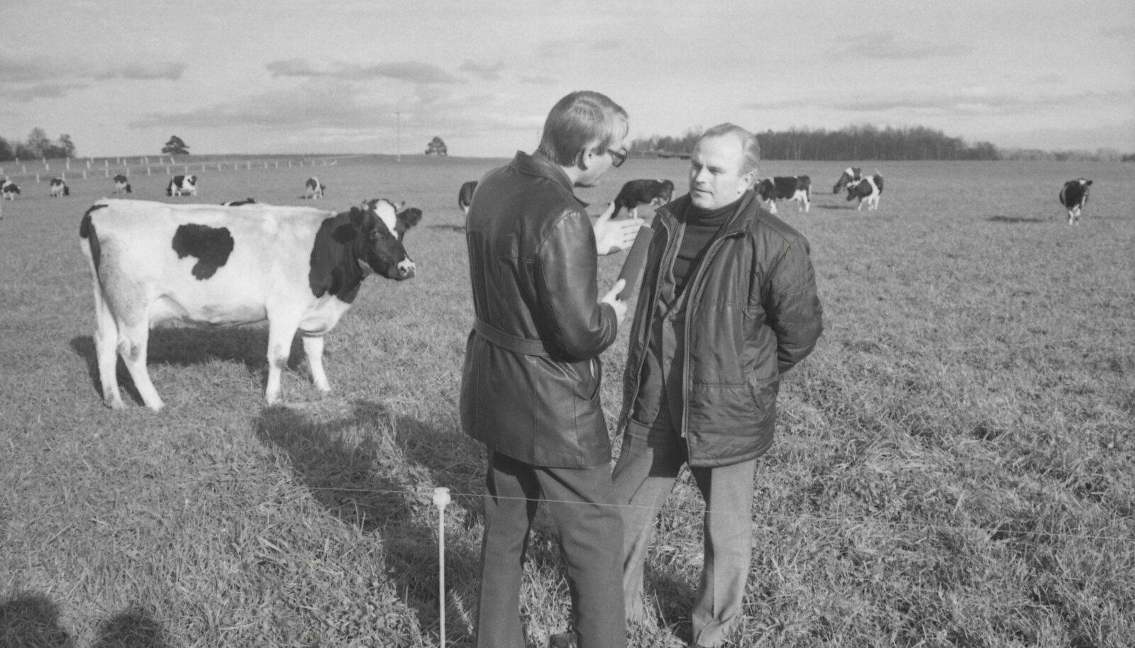 """Aasta on 1985. """"Viljaveski"""" saatejuht Mati Narusk küsitleb Eesti MaaviljeluseInstituudi kultuurrohumaade osakonna juhatajat Hindrek Olderit."""