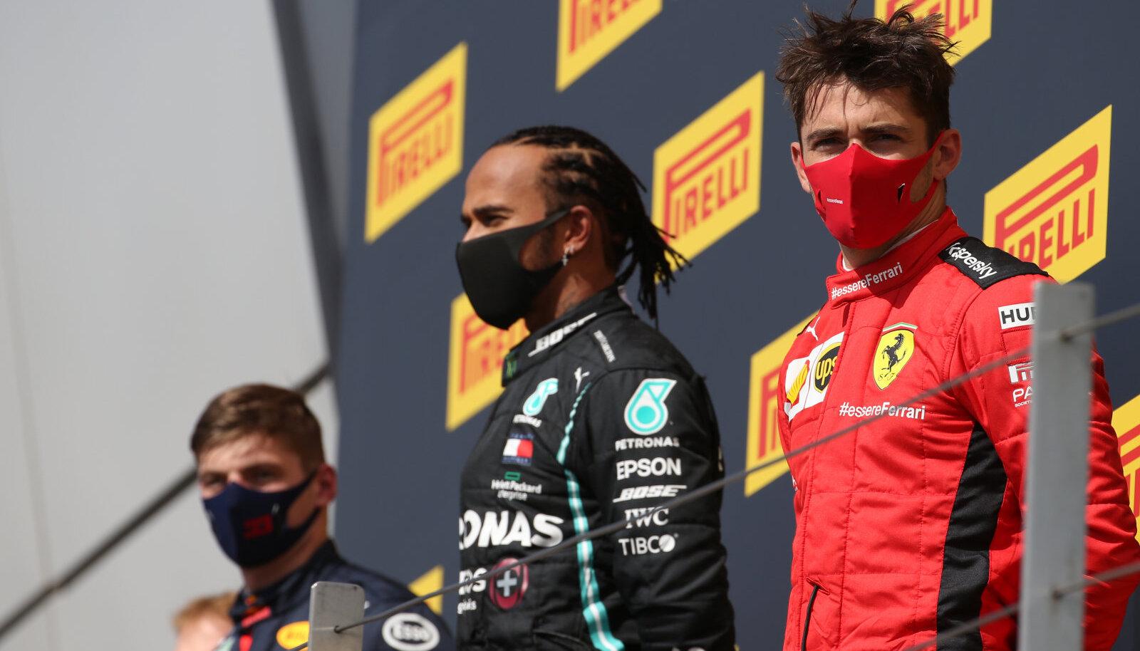 Max Verstappen, Lewis Hamilton ja Charles Leclerc