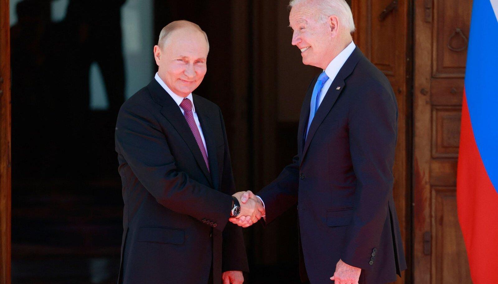 Venemaa president Vladimir Putin ja USA riigipea Joe Biden eilsel Genfi tippkohtumisel