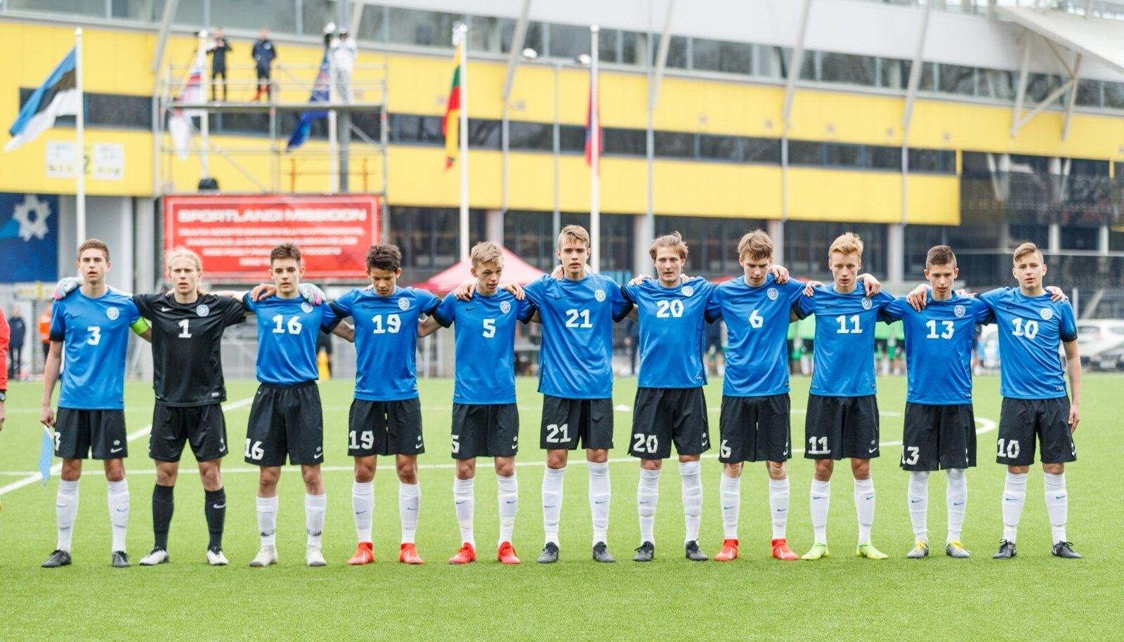 U17 koondise mängijad aprillis Tallinnas toimunud UEFA sõprusturniiril.