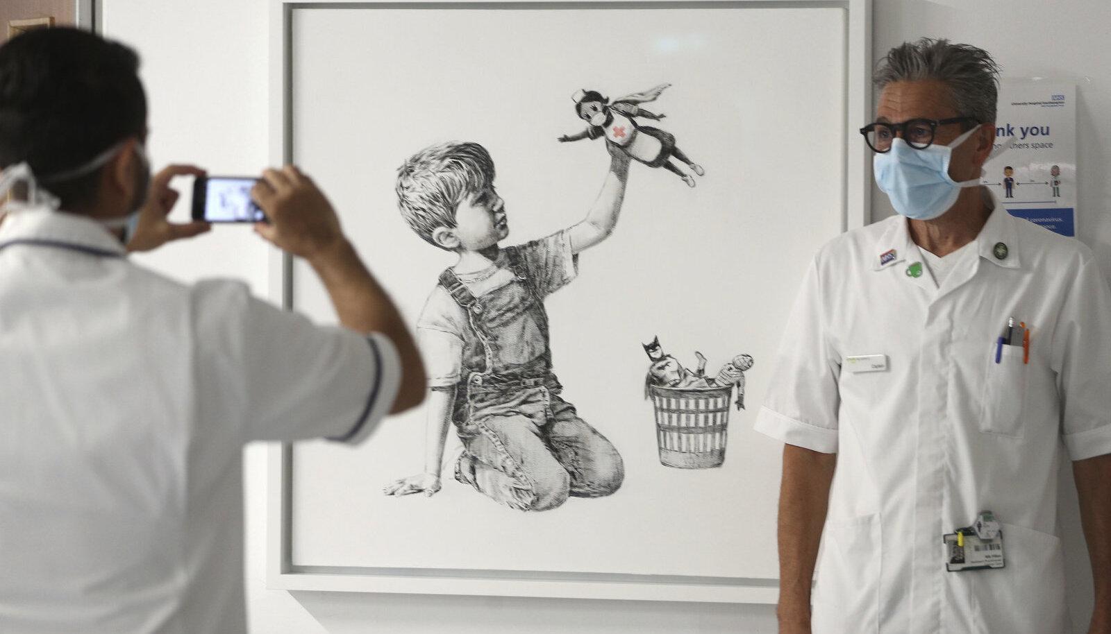 """Banksy """"Mängumuutja"""" müüdi 20 miljoni dollari eest."""