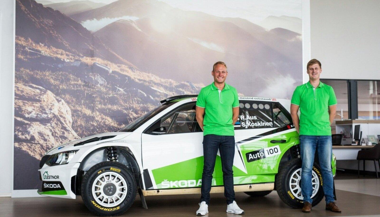 Rainer Aus ja Simo Koskinen ning esimest korda nende käsutuses olev Škoda Fabia R5 ralliauto.