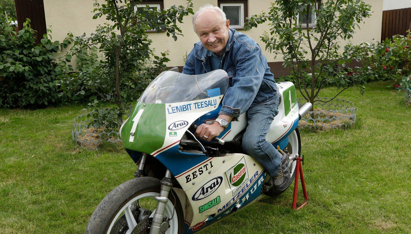 Lembit Teesalu mootorrattal, millega võitis oma 21. NSVLi meistritiitli