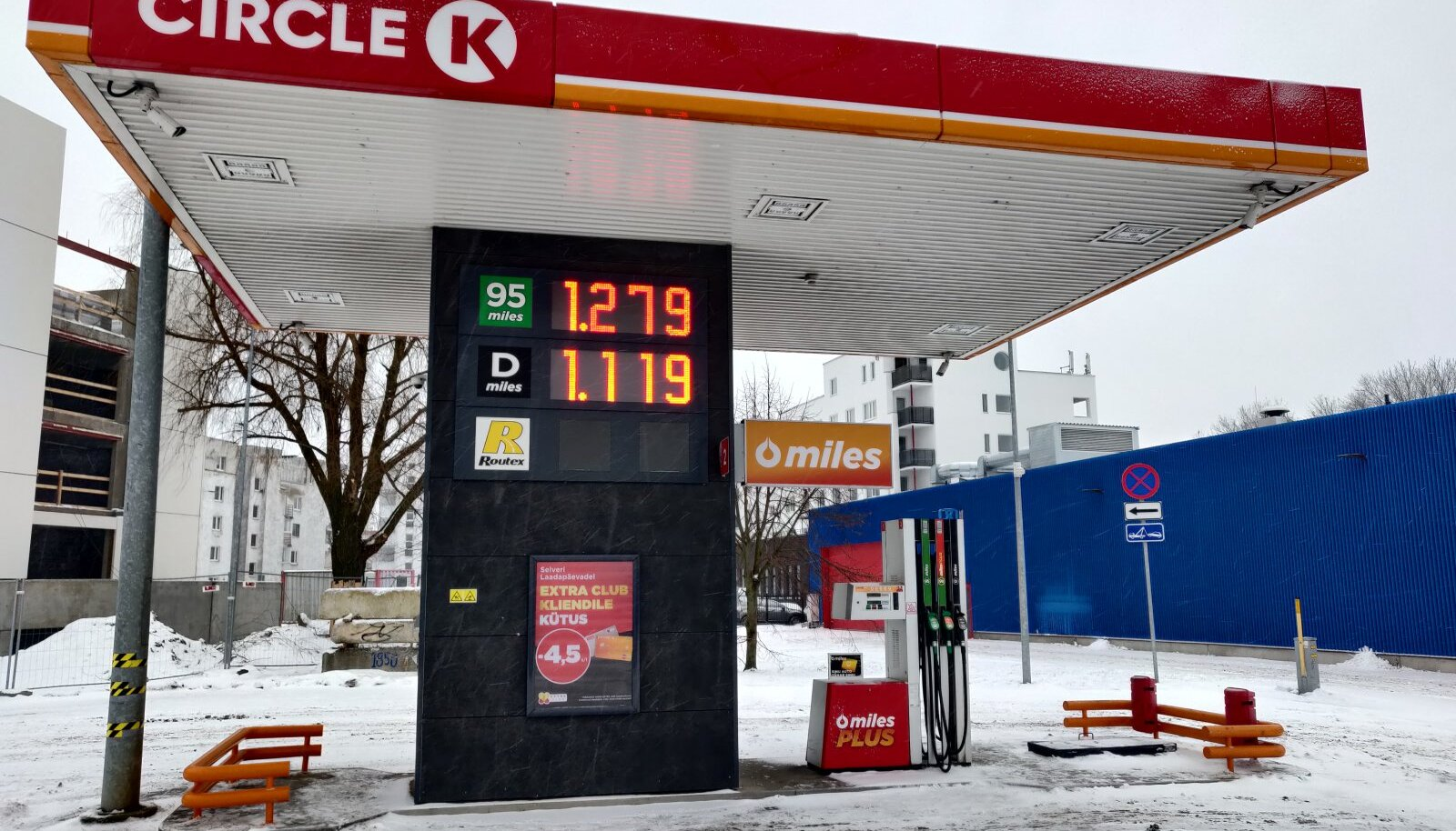 Kütuse hind Tallinnas Tööstuse tänaval 12.01.2021