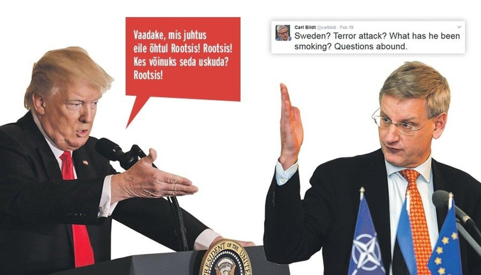 """Donald Trumpi (vasakul) öeldust võis jääda mulje, justkui oleks ta viidanud Rootsis eelmisel päeval toimunud terrorirünnakule. Rootsi ekspeaminister Carl Bildt reageeris Twitteris teravalt: """"Rootsi? Terrorirünnak? Mida ta suitsetanud on?"""""""