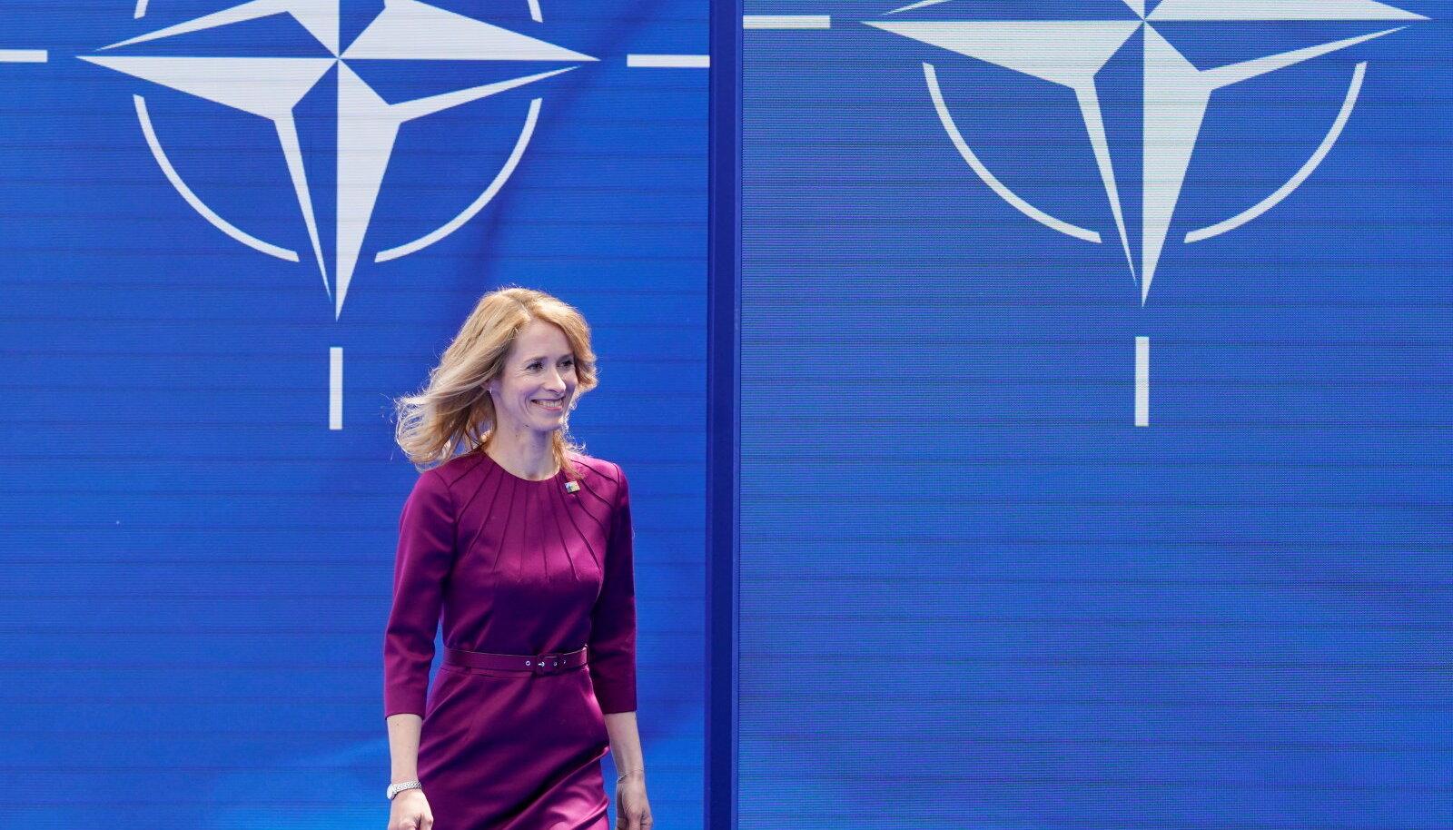 Eesti peaminister Kaja Kallas täna Brüsselis NATO tippkohtumisel.