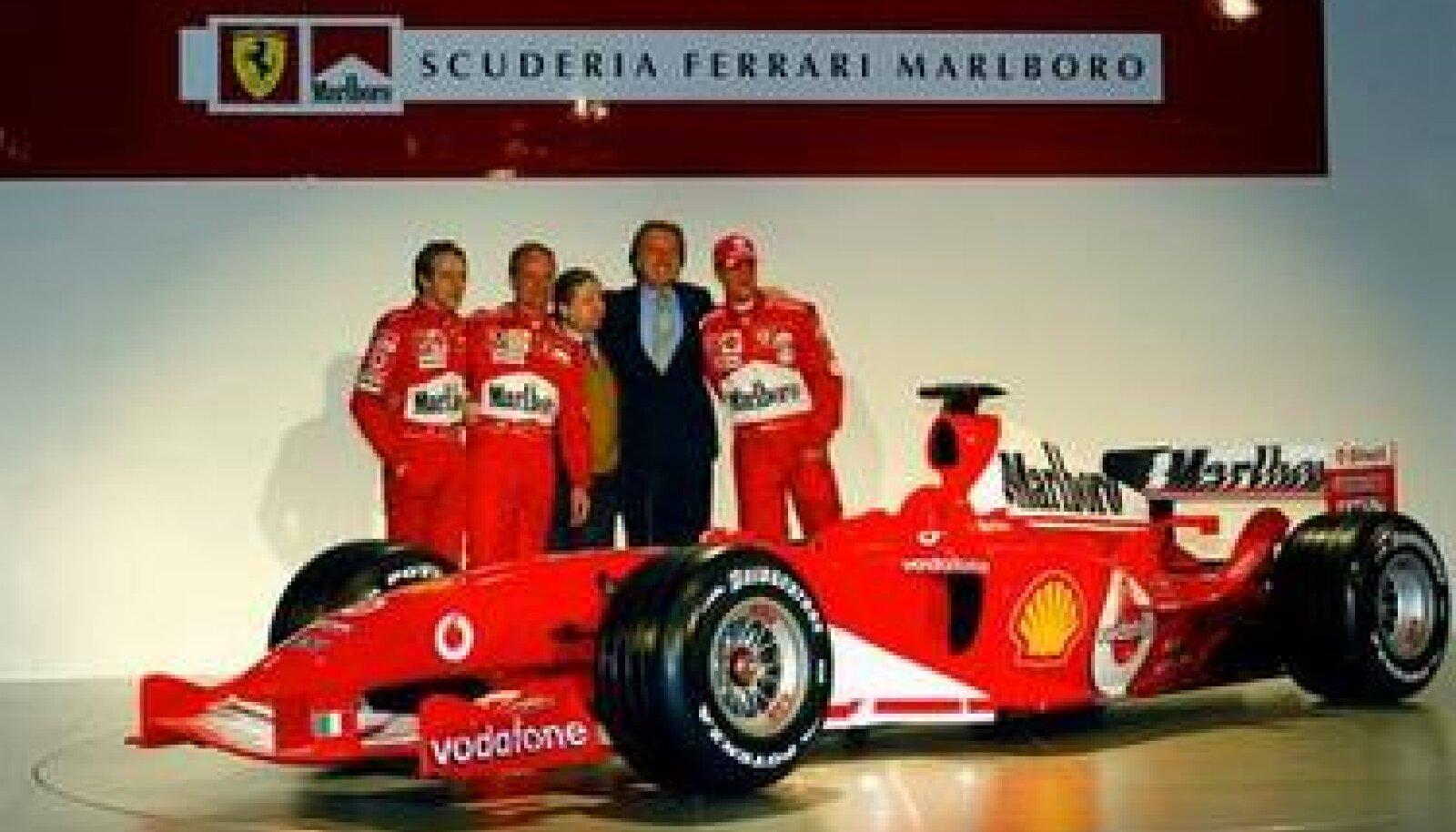 Ferrari F2004, Luca Badoer, Rubens Barrichello, Jean Todt, Luca Montezemolo ja Michael Schumacher