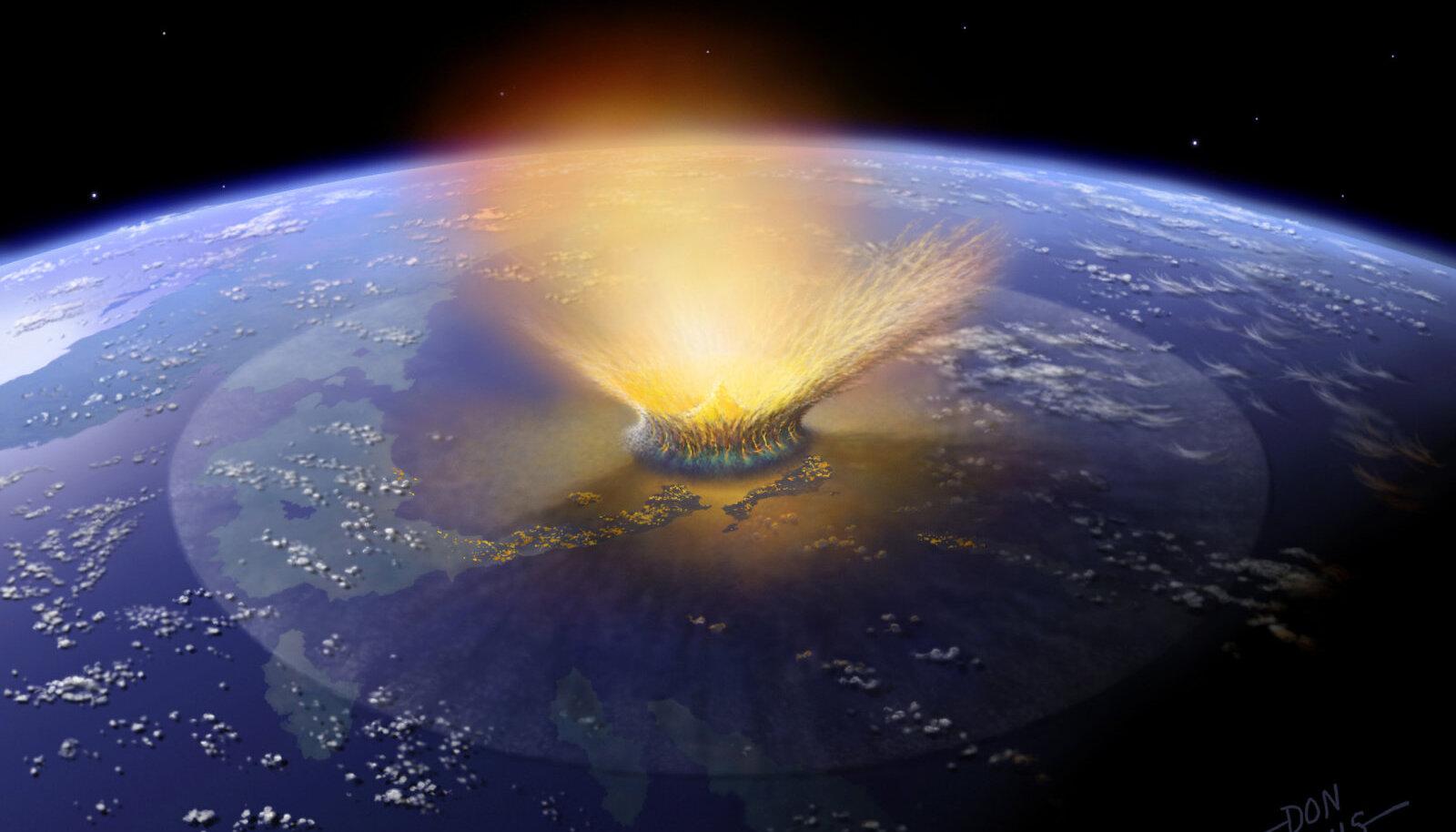 Kunstniku nägemus 65 miljonit aastat tagasi Maad tabanud hiidmeteoorist