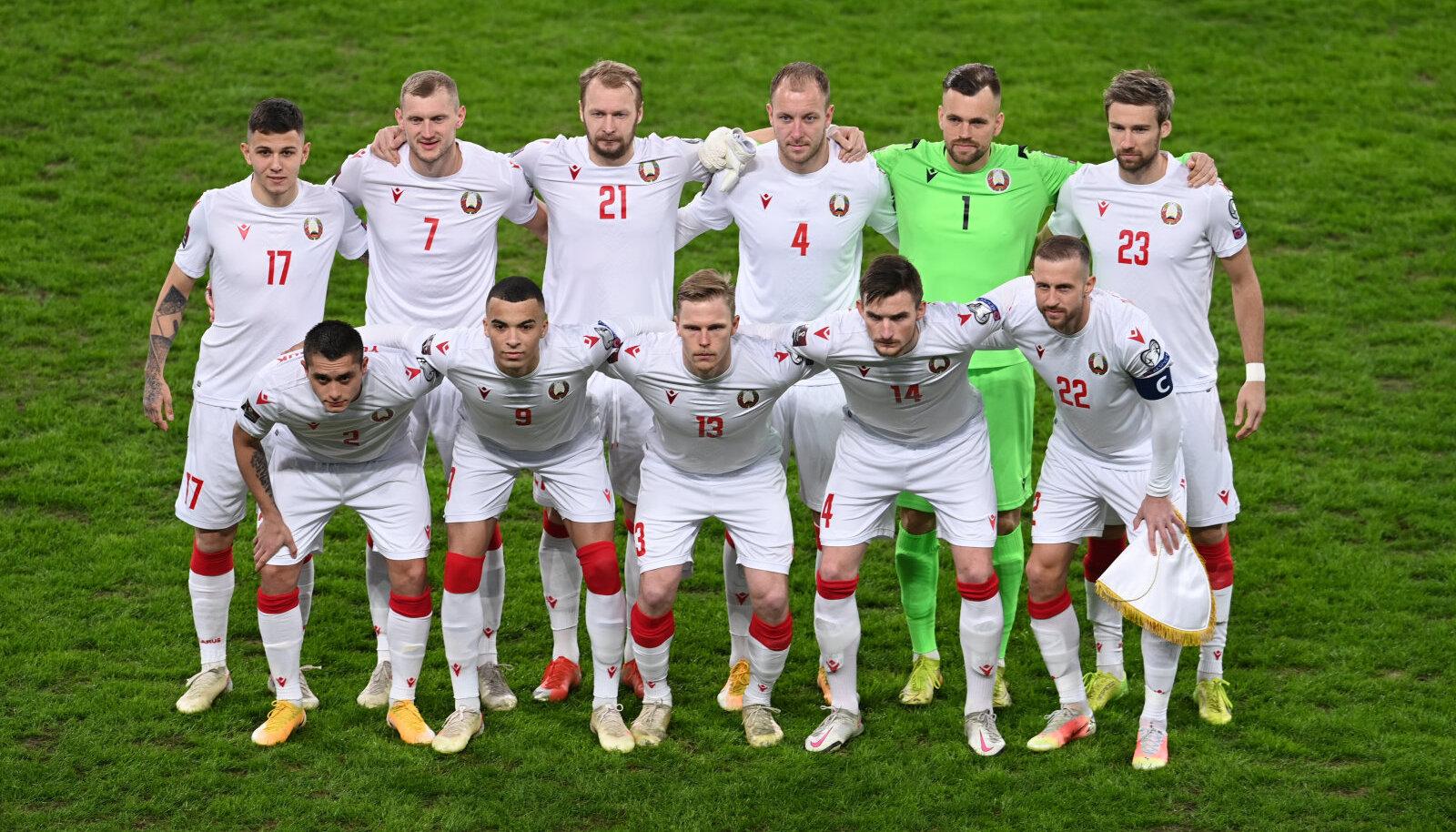 Valgevene koondis tänavu 27. märtsil enne mängu Eestiga.