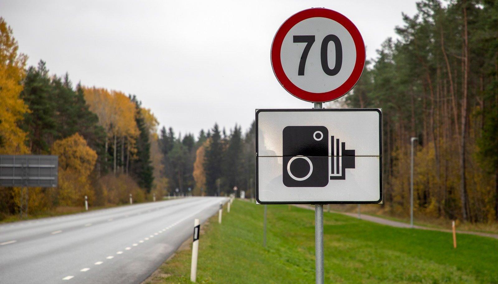Kiiruskaamera on teel, teatab märk.