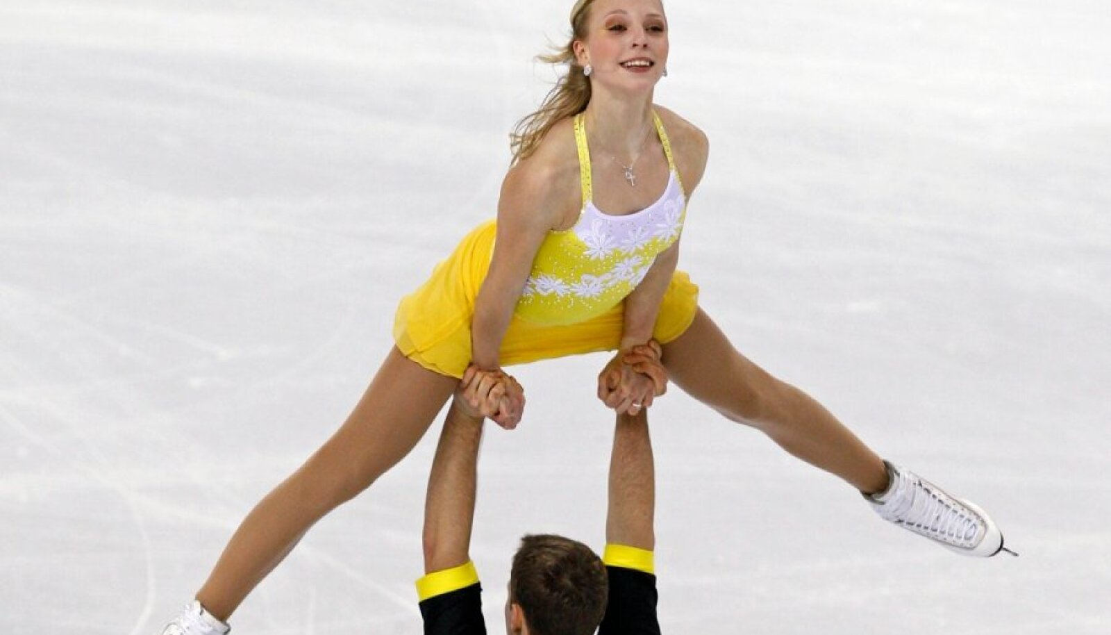 Sergejeva and Glebov of Estonia perform during the pairs short program event at the World Figure Skating Championships in Turin