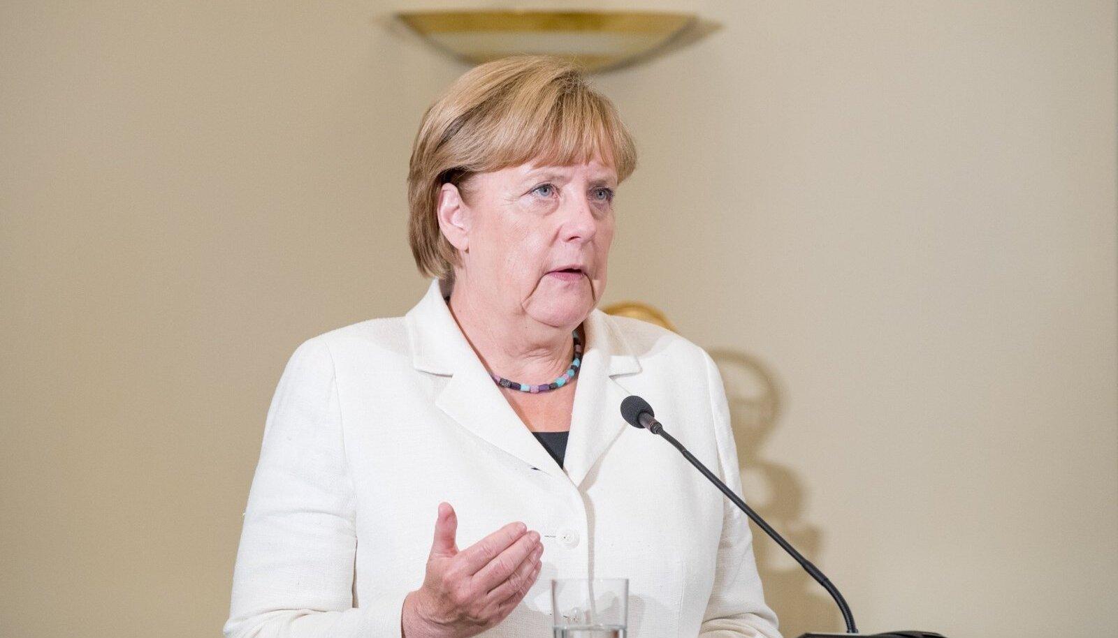Saksamaa liidukantsleri Angela Merkeli ja peaminister Taavi Rõivase ühine pressikonverents 2016. aasta augustis