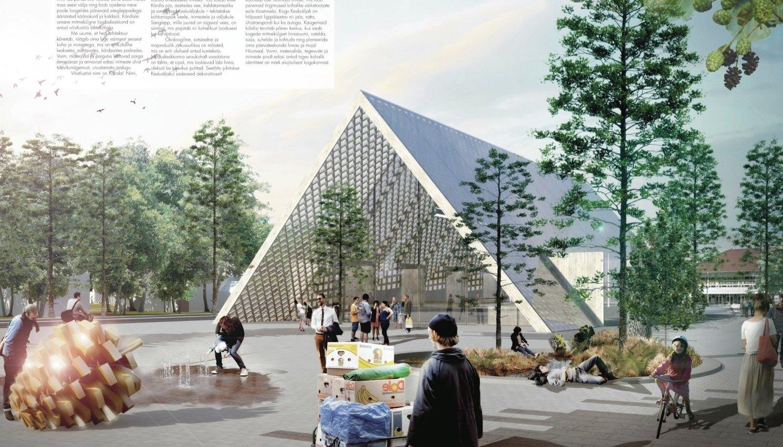 """Kärdla võidutöö """"Kärrdal"""", maastikuarhitektuuribüroo Mareld ja arhitektuuribüroo Bornstein Lyckefors. Keskväljakule annavad iseloomuliku ilme kolmnurkne turuhoone, lepapuud, veesilm ja hiiglaslik lepakäbi."""