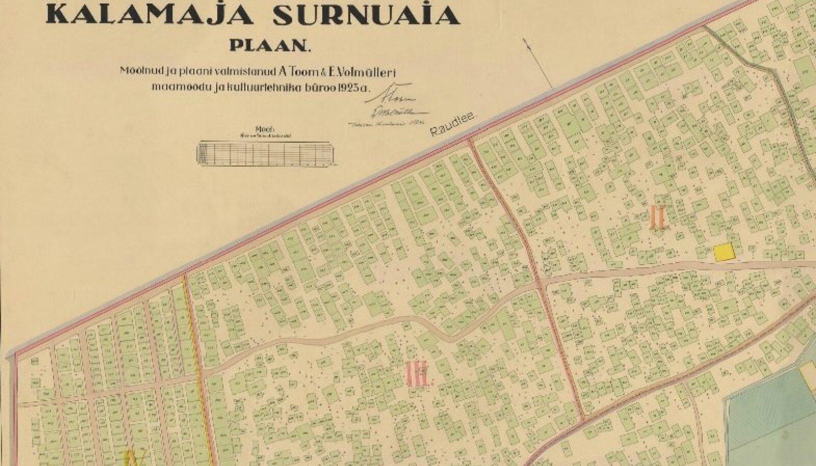 Ekraanitõmmis Linnaarhiivi kaardikogu leheküljelt