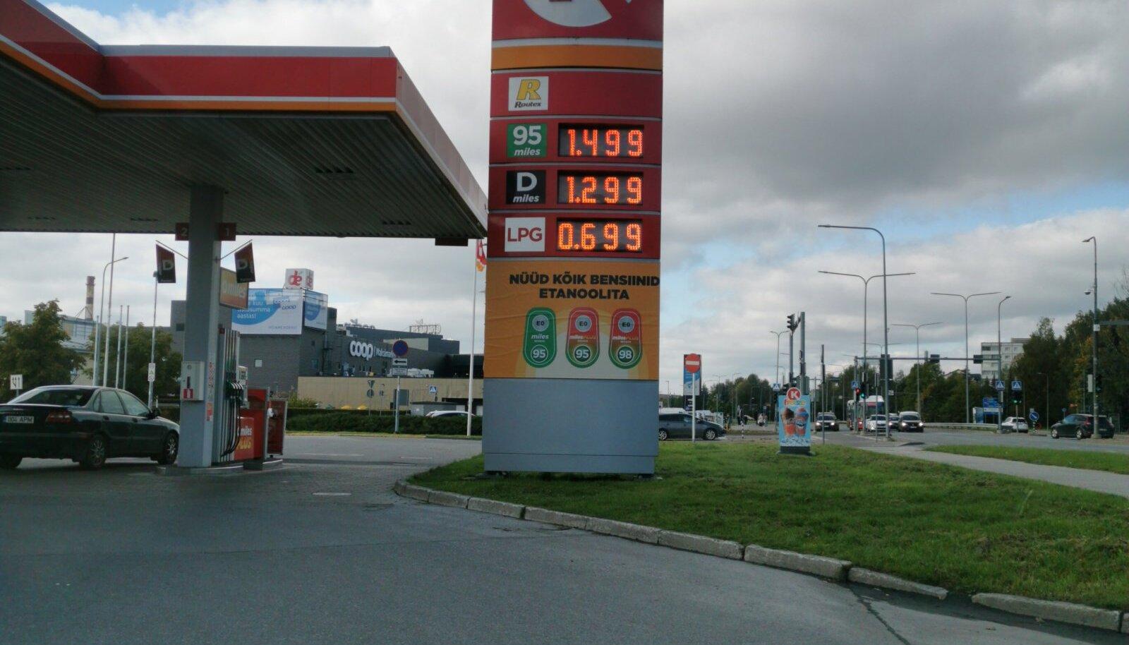 Lugejafoto. Kütuse hind 28.09 Tartus Kalda teel
