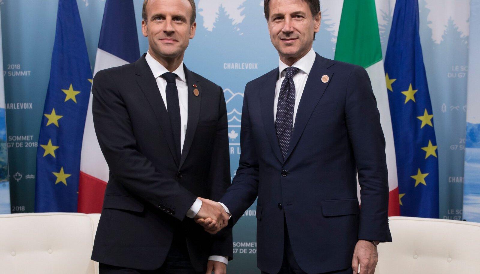 Emmanuel Macron ja Giuseppe Conte
