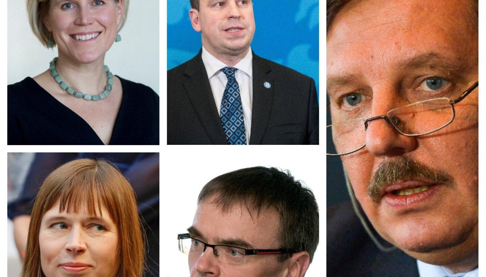 Ülle Madise, Jüri Ratas, Taavi Aas, Kersti Kaljulaid ja Sven Mikser