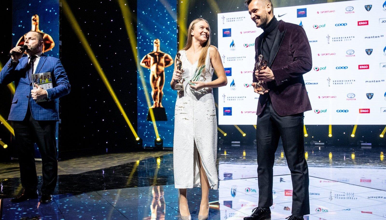 2019. aasta parim naisportlane Kelly Sildaru ja parim mees Magnus Kirt.