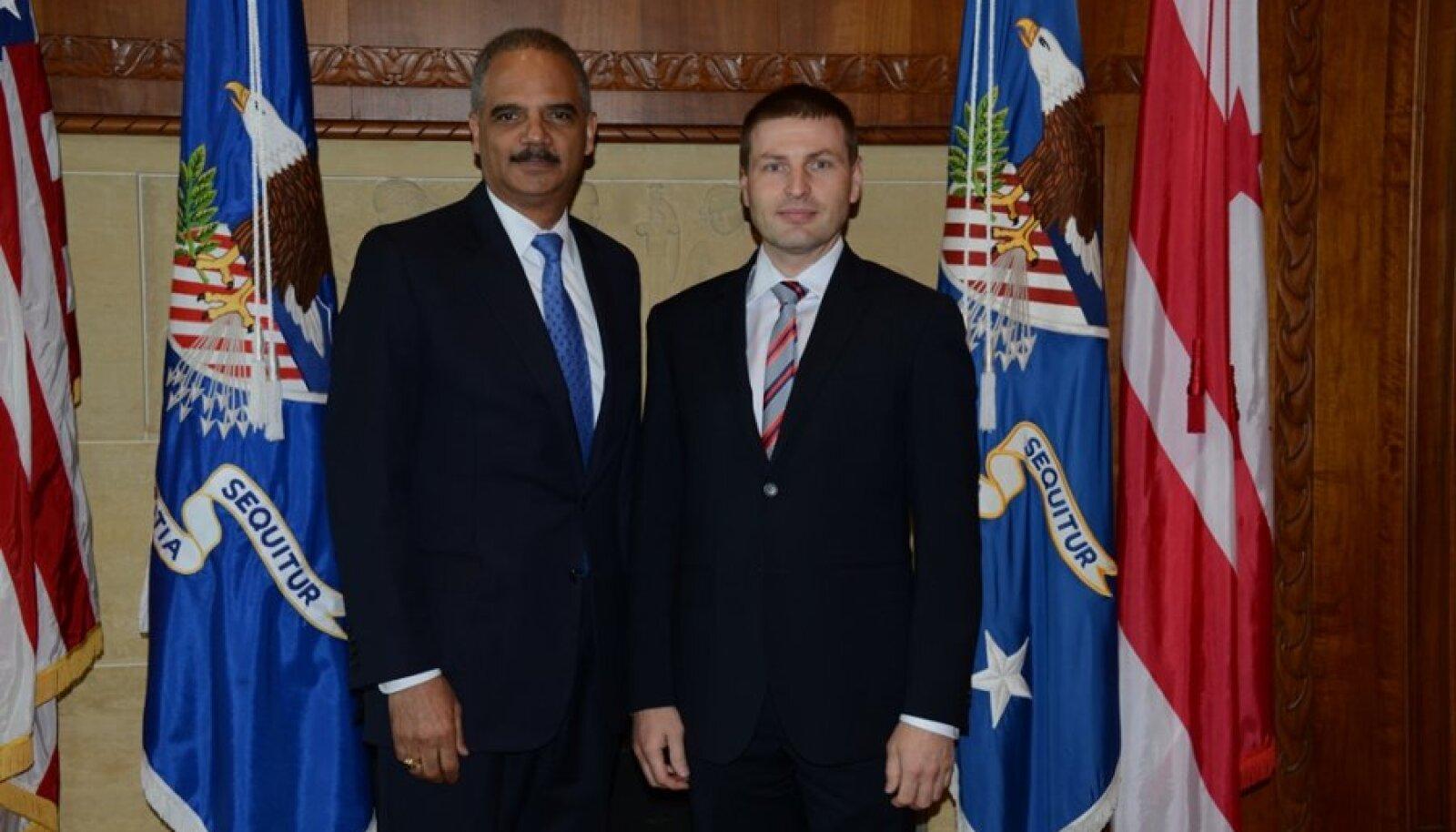 Eesti Vabariigi siseminister Hanno Pevkur ja USA justiitsminister Eric H. Holder