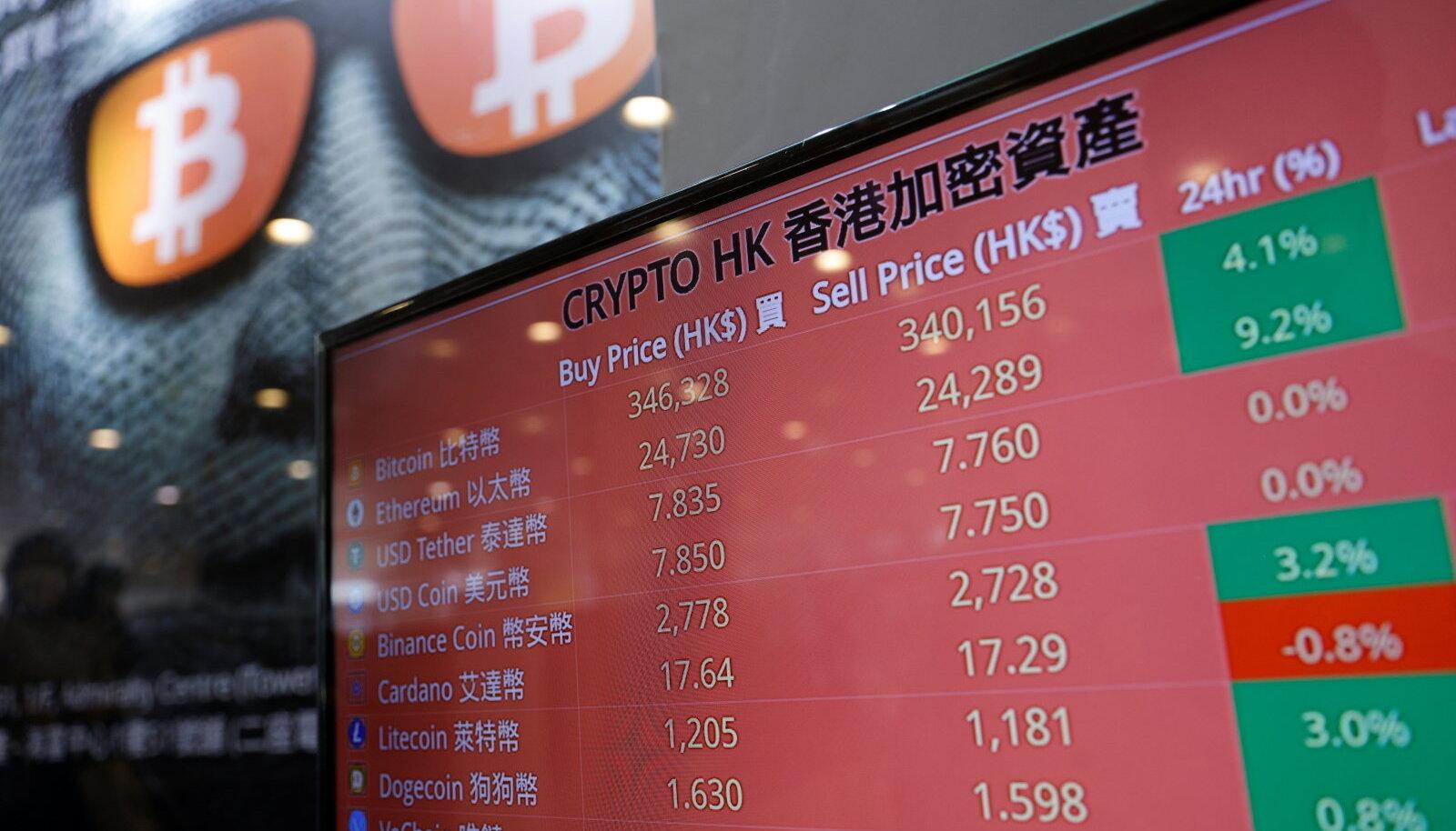 Foto on illustratiivne. Ekraanil on kuvatud krüptovaluutade hind Hong Kongis