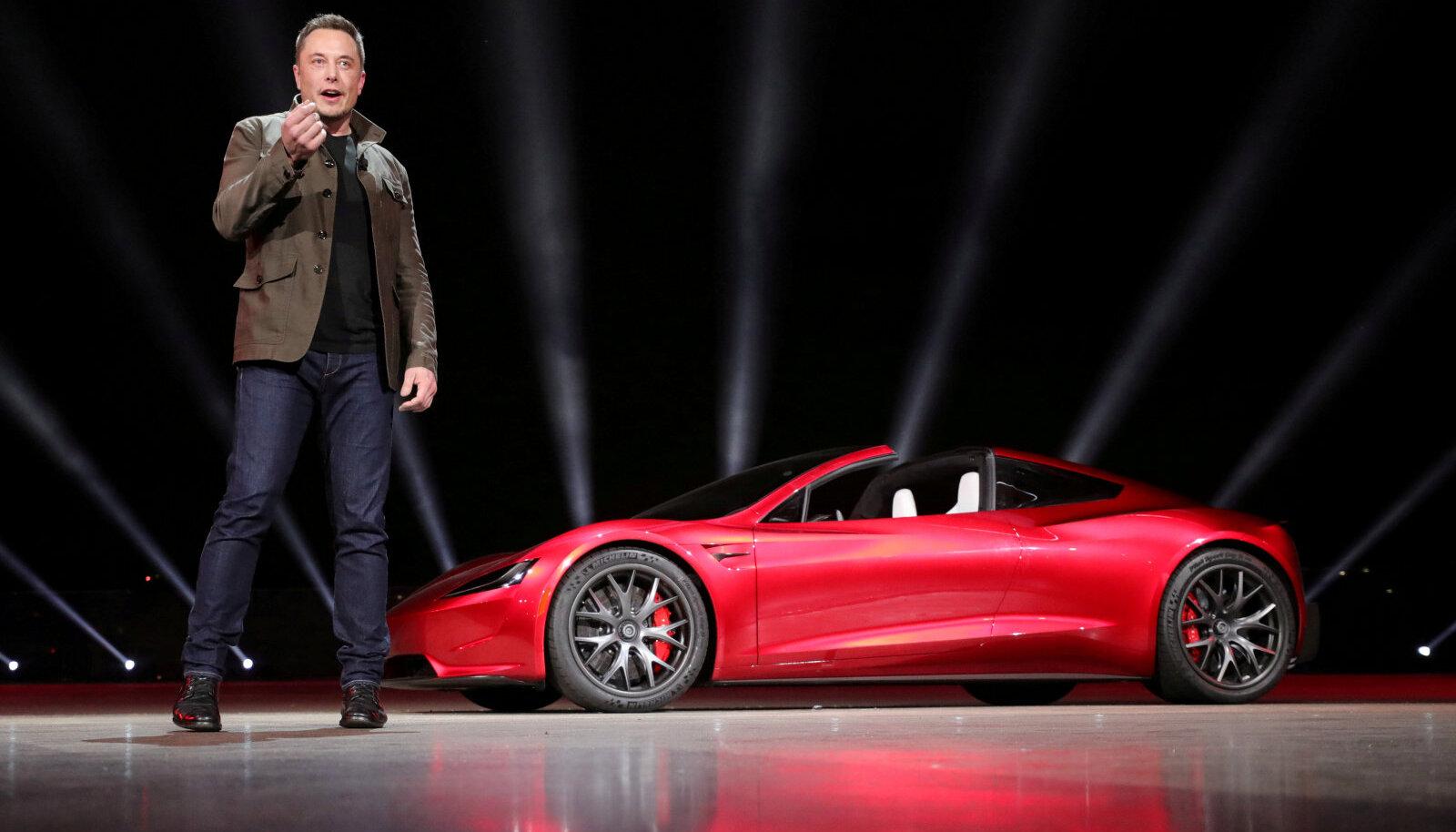 Elon Musk 2017. a novembris Roadster 2 esitlusel (foto: REUTERS / Scanpix)
