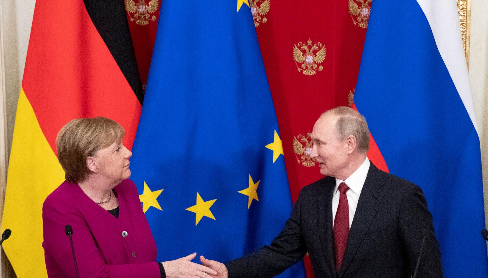 Angela Merkel ja Vladimir Putin mullu jaanuaris Moskvas.