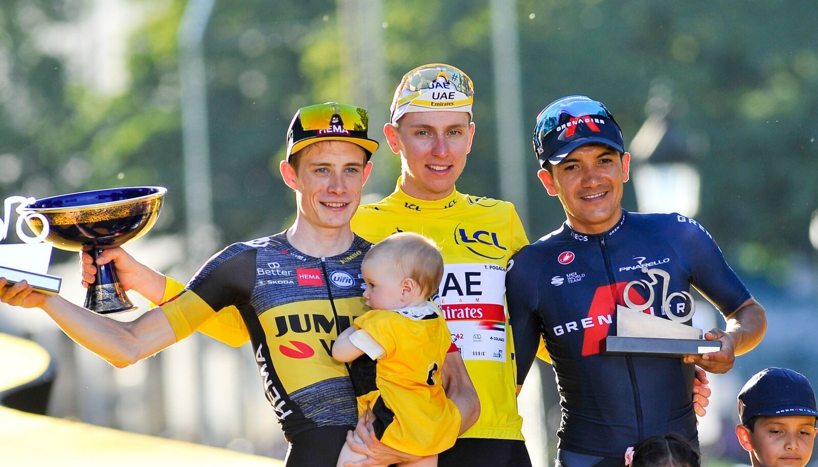 Tour de France`i esikolmik, keskel Tadej Pogačar