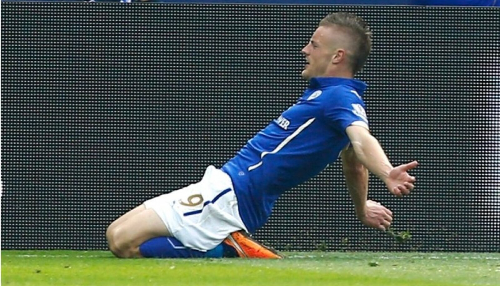 Leicester City's Vardy celebrates after scoring a goal against Manchester United during their English Premier League soccer match at the King Power stadium in Leicester
