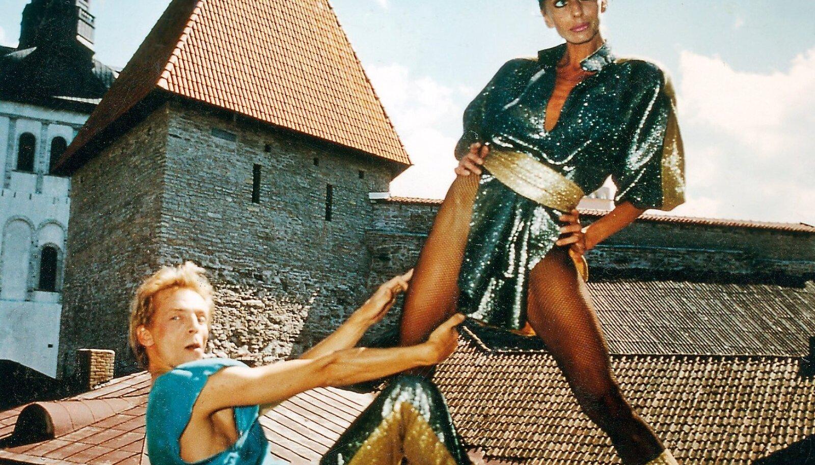 Ülle ja Mait poseerimas baarvarietee Tallinn plakati jaoks 1980. aastate keskel.