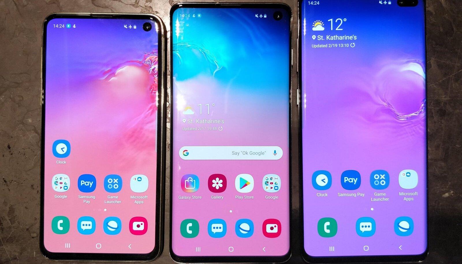 Vasakult paremale: Samsung S10e, S10 ja S10+