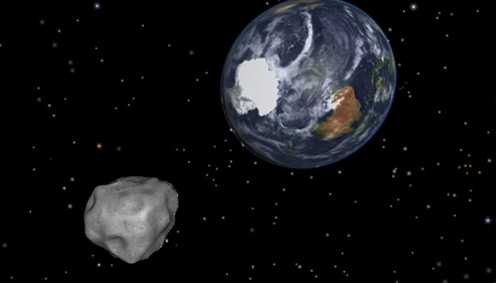 Kunstniku nägemus Maa poole suunduvast asteroidist