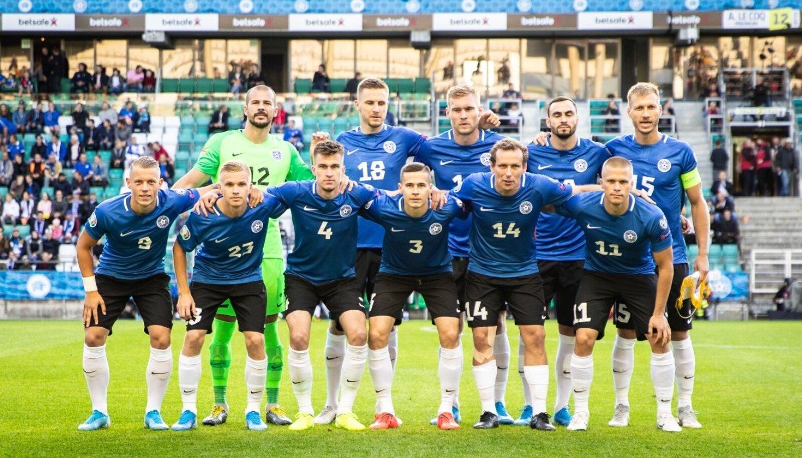 Eesti koondis enne mängu Valgevenega