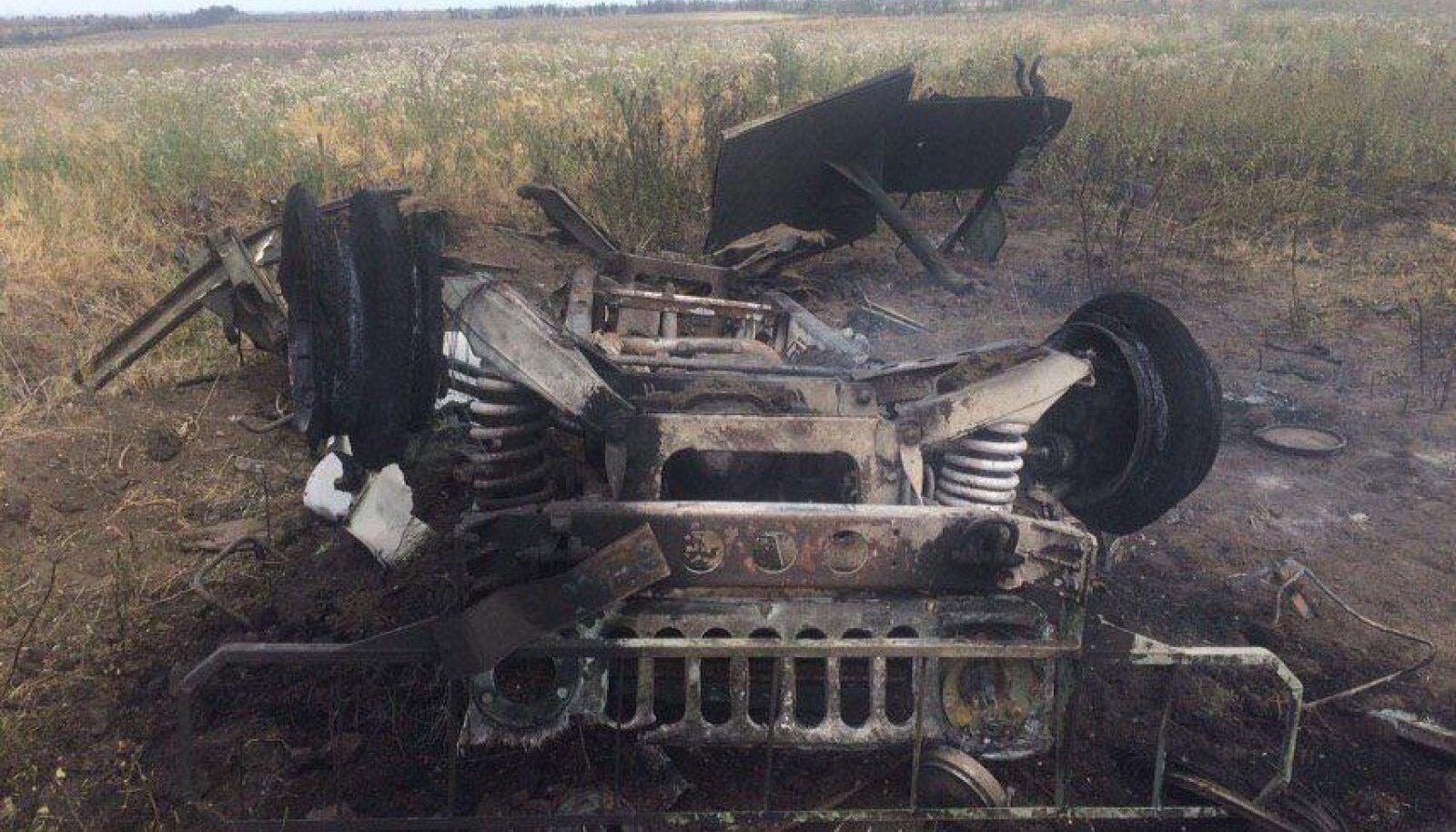 Vodiane külas raketitabamuse saanud Humvee