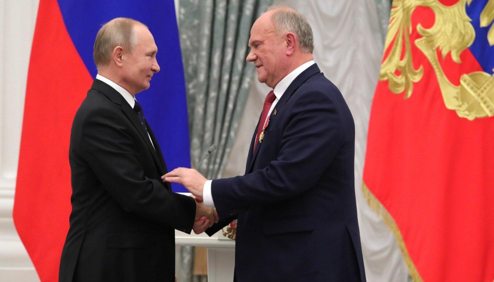 Президент РФ Владимир Путин и лидер КПРФ Геннадий Зюганов