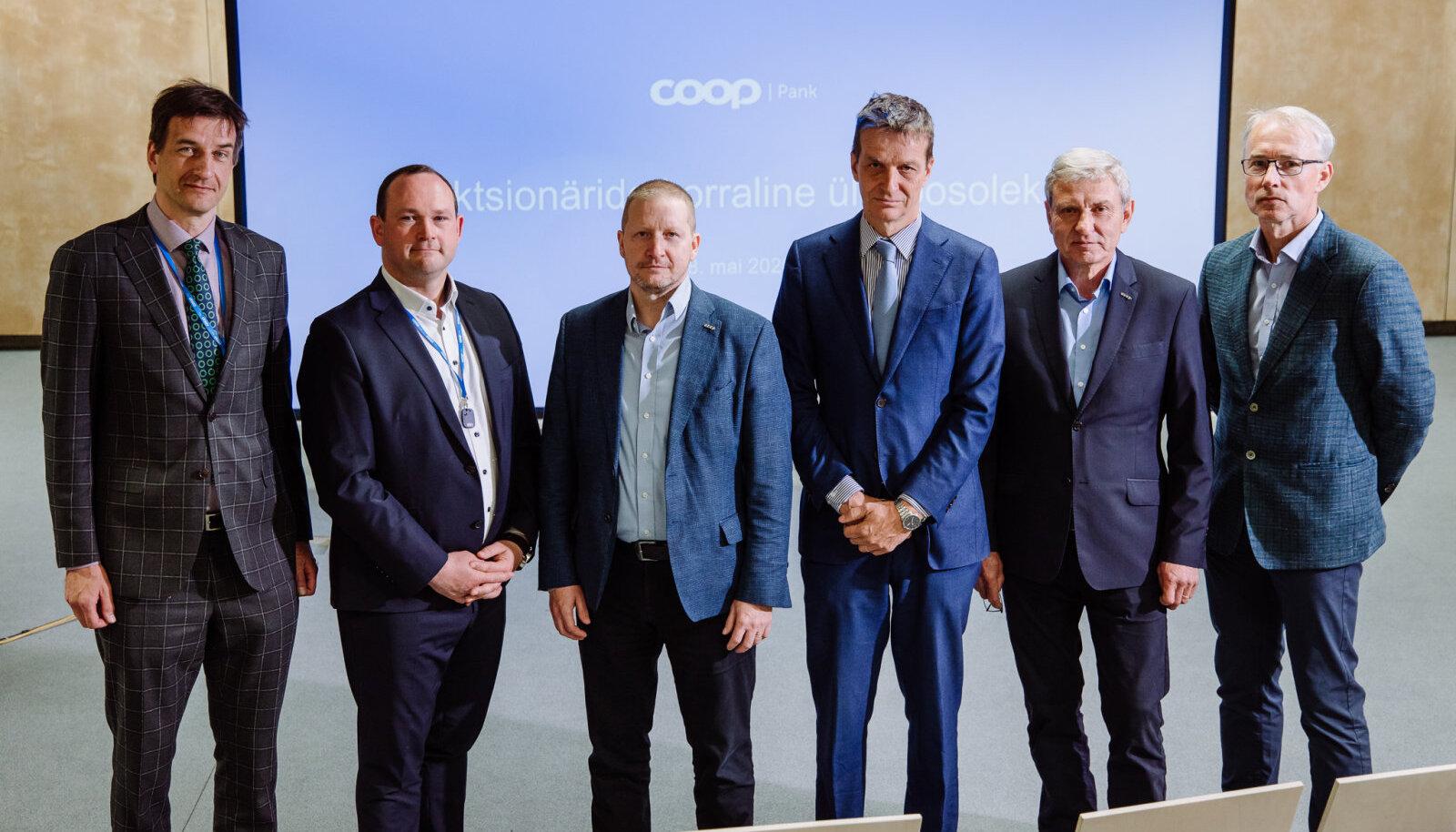 Новые члены совета Coop Pank слева направо: Рауль Паруск, Сильвер Куус, Ало Иваск, Ардо Ханссон, Яан Марьюнди и Роман Провоторов