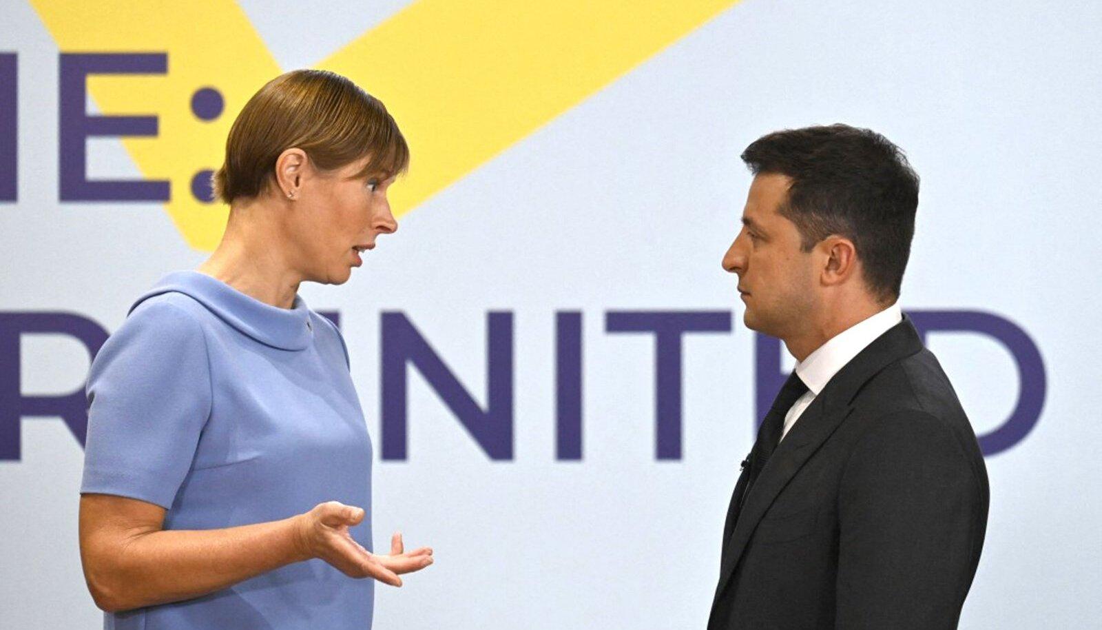 Eesti ja Ukraina presidendid Kersti Kaljulaid ja Volodõmõr Zelenskõi