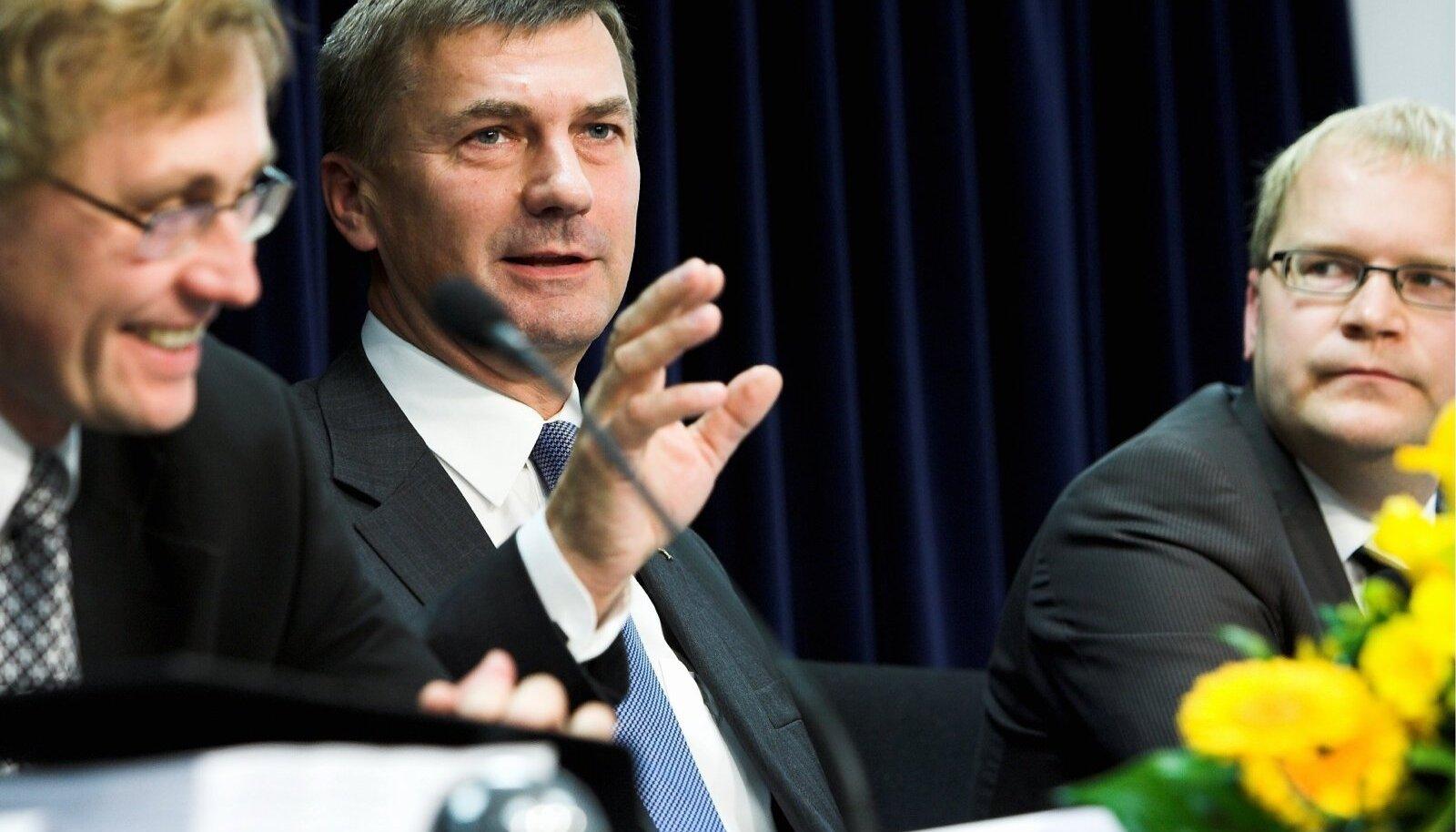 Лукас, Ансип, Паэт. Пресс-конференция правительства. 2007 год