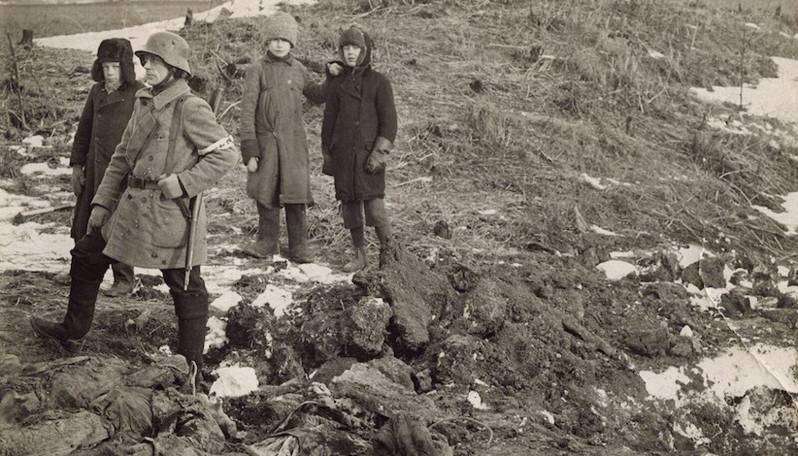 Enamlaste poolt tapetud narvalaste laipade välja toomine Kreenholmi tehase sibiaugust 1919. aasta jaanuaris.